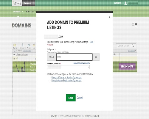 godaddy premium listing