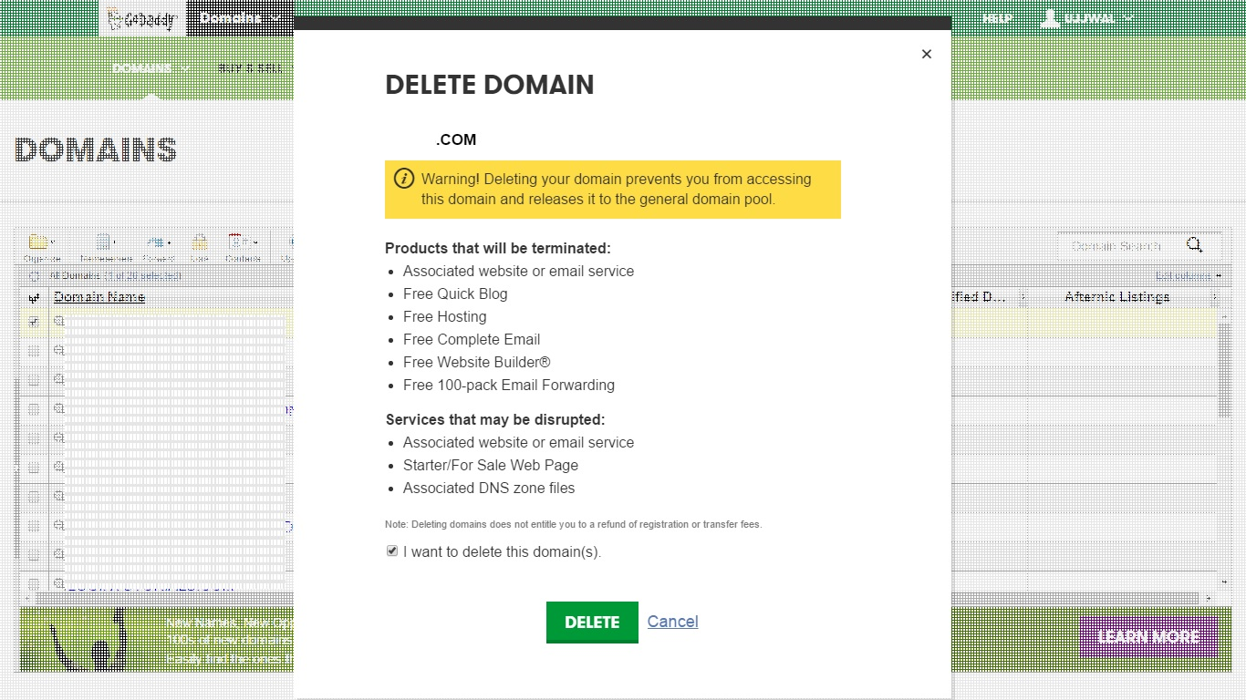 Delete Domain Name registration 3